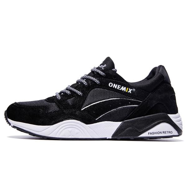 Onemix Mens Retro Running Shoes - black white / 6.5 - Running Shoes