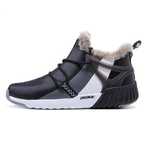 ONEMIX Winter Mens Sneakers Warm Wool - black white grey / 4 - Running Shoes