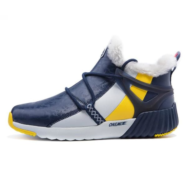 ONEMIX Winter Mens Sneakers Warm Wool - blue grey / 4 - Running Shoes