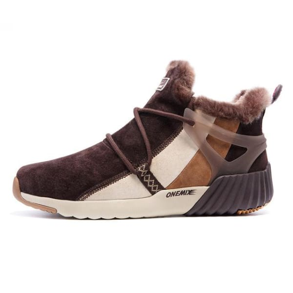 ONEMIX Winter Mens Sneakers Warm Wool - brown / 4 - Running Shoes
