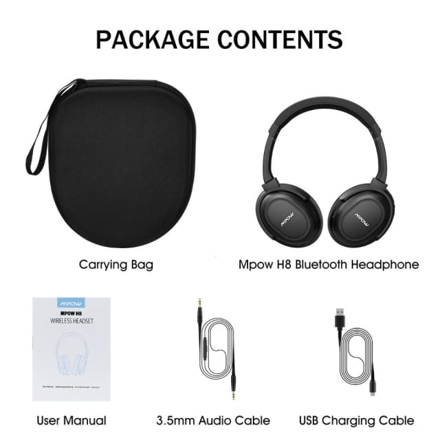 Original ANC Mpow New Active Noise Canceling Headphones Headest Bluetooth V 4.1 Headphones Wireless /Wired With Mic Carring Bag - Headphone
