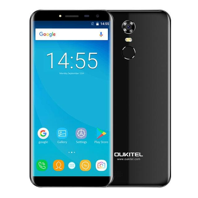 Oukitel C8 5.5Inch 18:9 Infinity Display Smartphone Android 7.0 3000mAh 2GB RAM 16GB MT6580 Quad Core Fingerprint 13MP - Standard / Black -