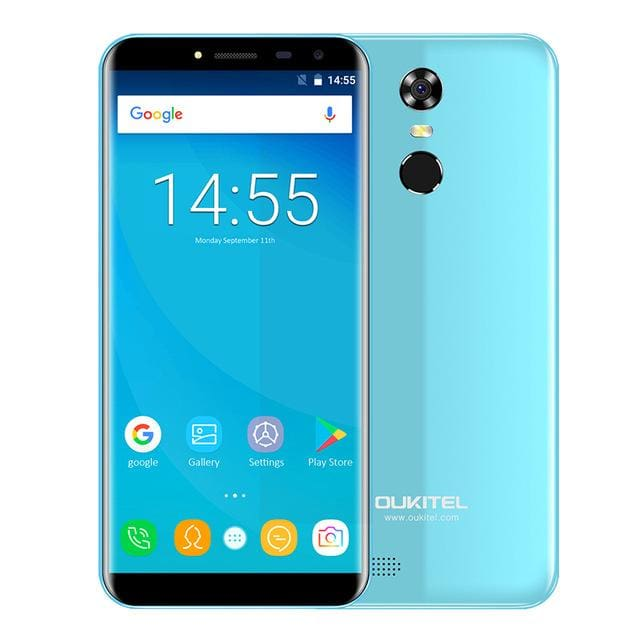 Oukitel C8 5.5Inch 18:9 Infinity Display Smartphone Android 7.0 3000mAh 2GB RAM 16GB MT6580 Quad Core Fingerprint 13MP - Standard / Blue -