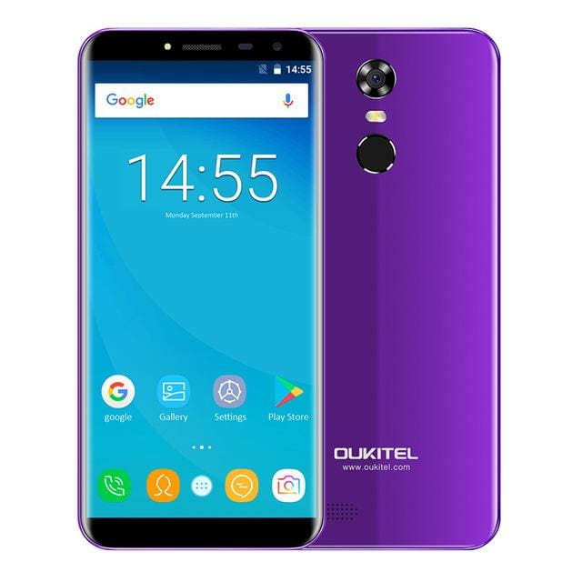 Oukitel C8 5.5Inch 18:9 Infinity Display Smartphone Android 7.0 3000mAh 2GB RAM 16GB MT6580 Quad Core Fingerprint 13MP - Standard / Purple -