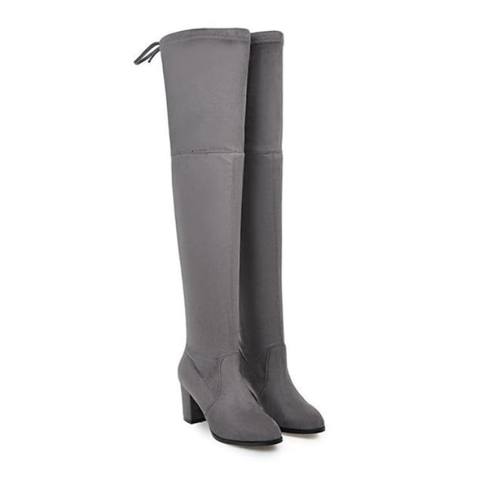 Over-the-Knee Boots For Women - Dark grey / 3 - Over-the-Knee Boots