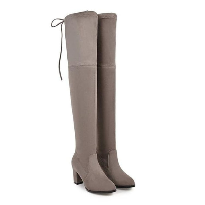 Over-the-Knee Boots For Women - khaki / 3 - Over-the-Knee Boots