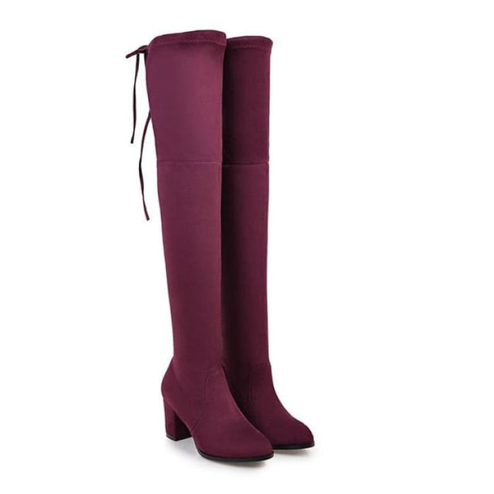 Over-the-Knee Boots For Women - Wine red / 3 - Over-the-Knee Boots