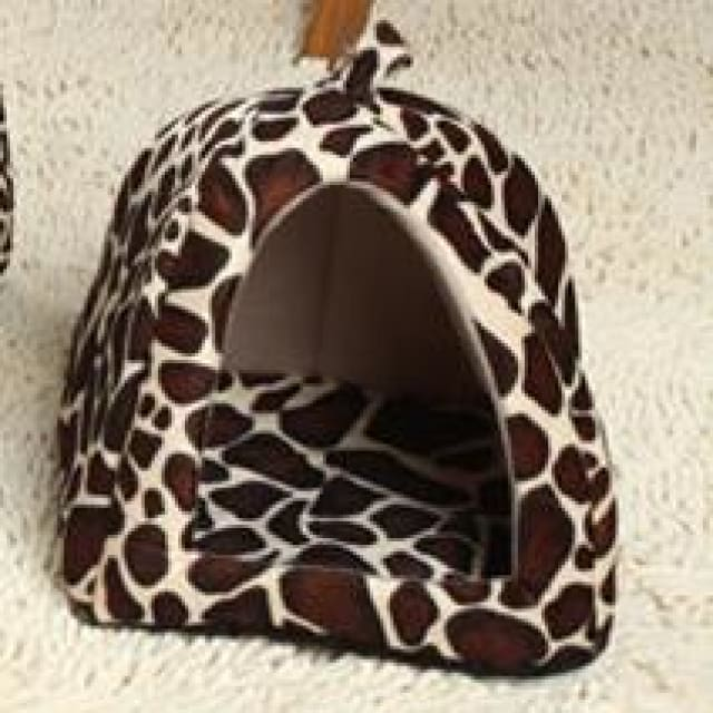 Pet House Dog Cats - Foldable Red/Purple/Blue/Pink - Leopard / 26x26cm - Pet House