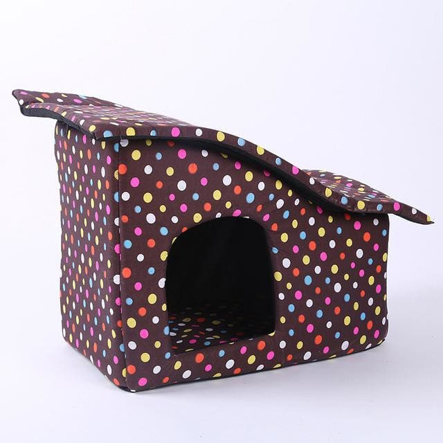 Pet House with Cotton Folding Bed For Large Dog - Coffee / M 55x35x40cm / China - Pet House