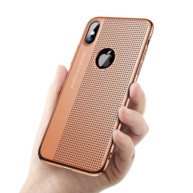 Phone Bag Case For Apple iPhone X 10 Shell - Red Gold - Fitted Cases