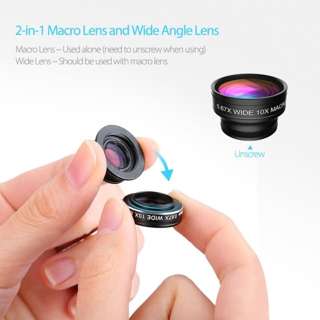 Phone Lens 180 Degree with Clip for Iphone/ Samsung/ Sony/ LG/... - Phone lens