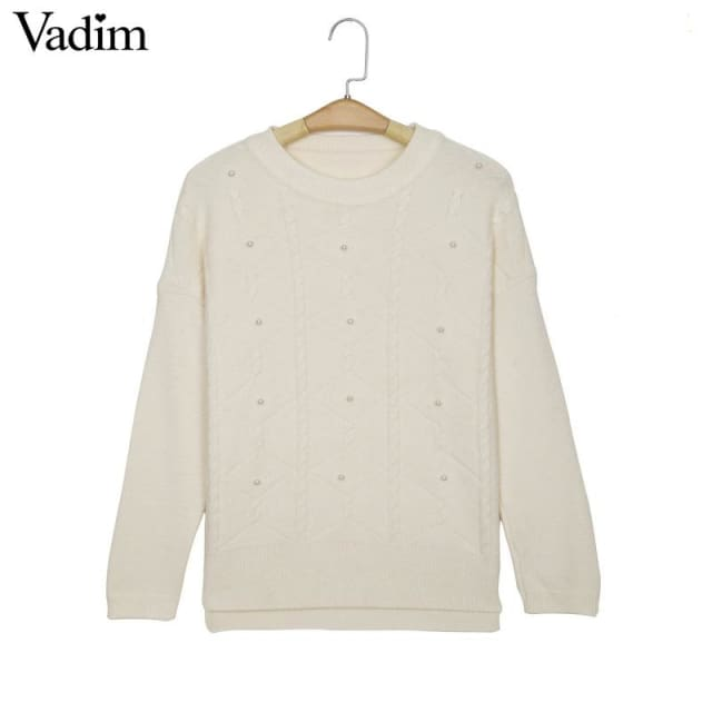 Pullovers for Womens with pearl beading and neck long sleeve - Pullovers