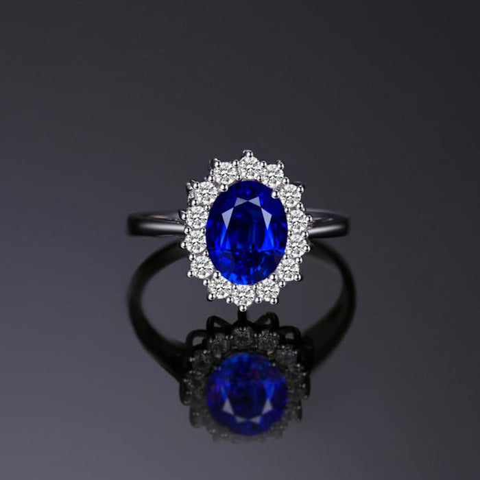 Ring Blue Sapphire - 925 Sterling Silver for Women - Engagement Rings