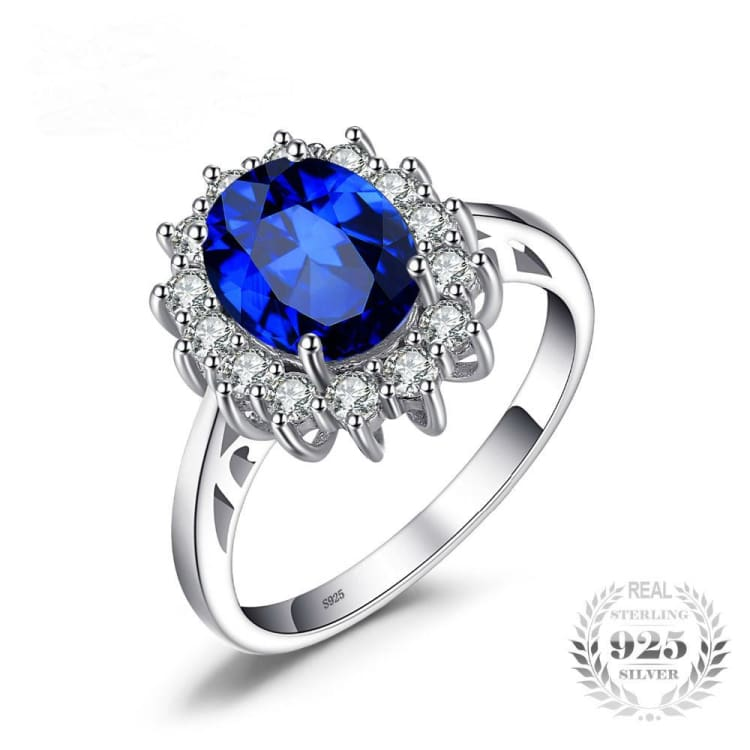 Ring Blue Sapphire - 925 Sterling Silver for Women - 5 - Engagement Rings