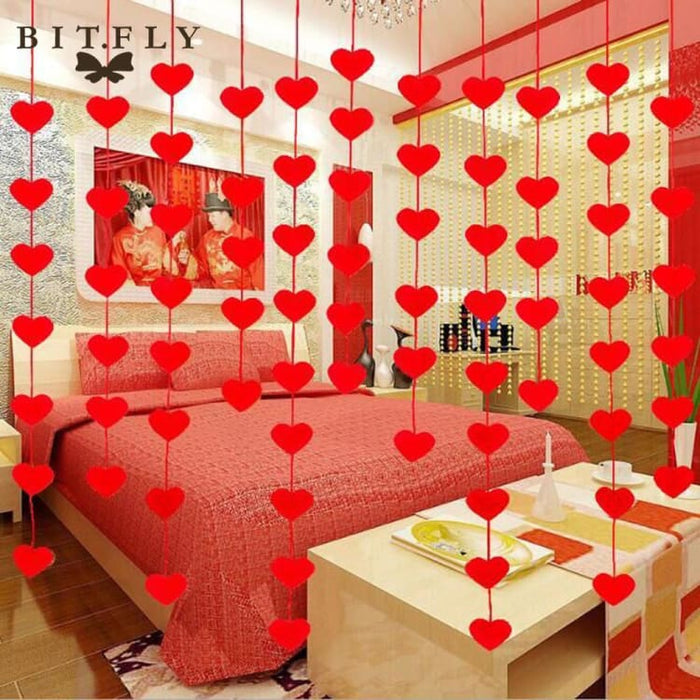 romantic Love Heart Curtain Garland Flags Banner Wedding Valentines Day home Decoration Birthday Party Supplies Red Bunting