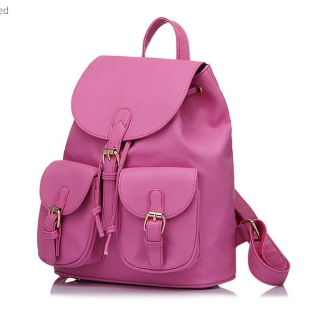 School Backpack Artificial Leather Fashion Women Shoulder Bag With Two Solid Pocket For Teens Girls - Backpacks