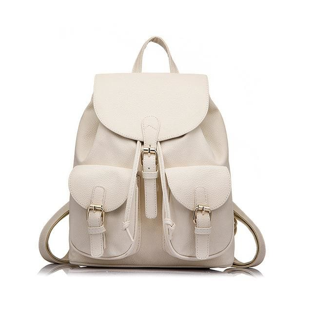 School Backpack Artificial Leather Fashion Women Shoulder Bag With Two Solid Pocket For Teens Girls - Beige / China / 15 Inches - Backpacks