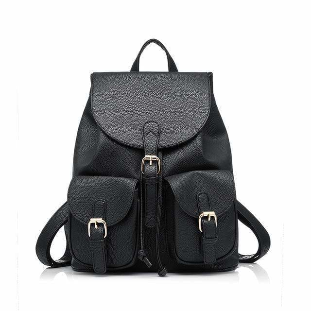 School Backpack Artificial Leather Fashion Women Shoulder Bag With Two Solid Pocket For Teens Girls - Black / China / 15 Inches - Backpacks
