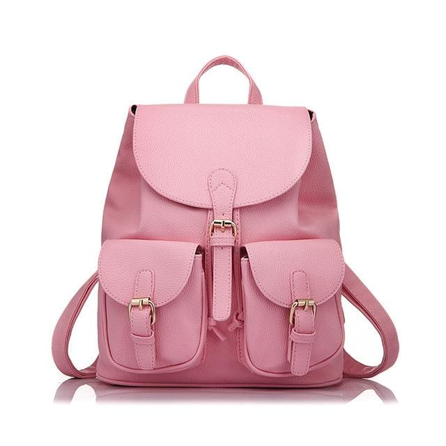 School Backpack Artificial Leather Fashion Women Shoulder Bag With Two Solid Pocket For Teens Girls - Pink / China / 15 Inches - Backpacks