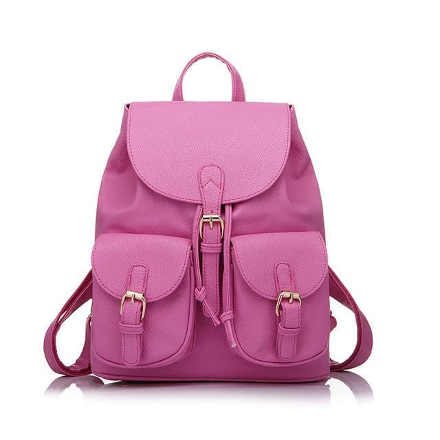 School Backpack Artificial Leather Fashion Women Shoulder Bag With Two Solid Pocket For Teens Girls - Rose Red / China / 15 Inches -