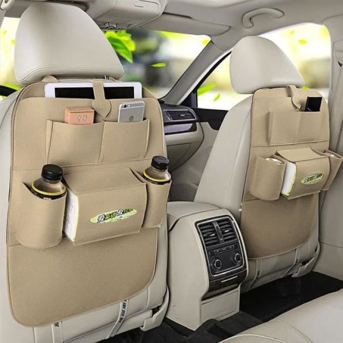 Seat Back Organizer with 6 Pocket - Beige - Stowing Tidying