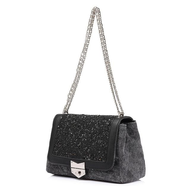 Shoulder bag female fashion canvas handbags 2018 women famous brands messenger bags with high quality diamonds - Black / China / (20cm<Max