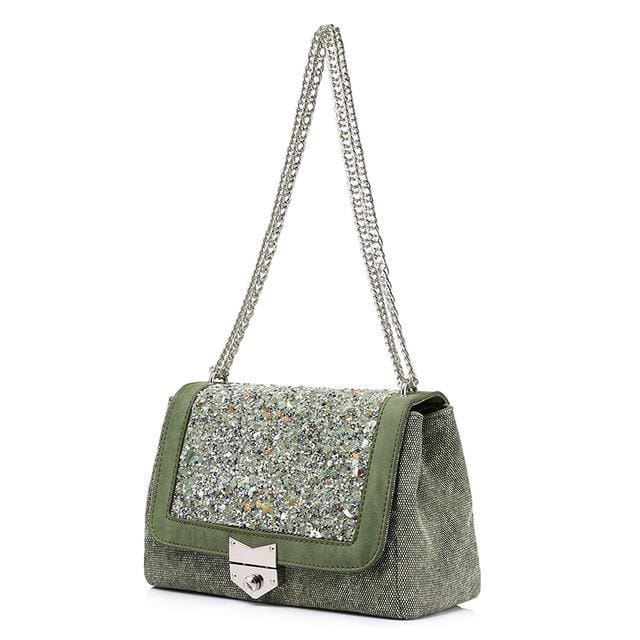 Shoulder bag female fashion canvas handbags 2018 women famous brands messenger bags with high quality diamonds - Green / China / (20cm<Max