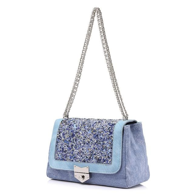 Shoulder bag female fashion canvas handbags 2018 women famous brands messenger bags with high quality diamonds - Sky Blue / China /