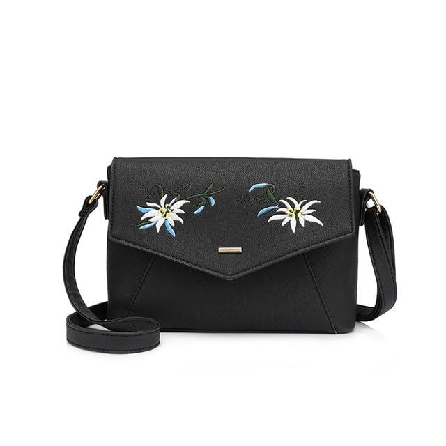 Shoulder bag female flower embroidery handbag for women messenger bags envelope crossbody bag Blue/Pink/Black - Black / China / (20cm<Max