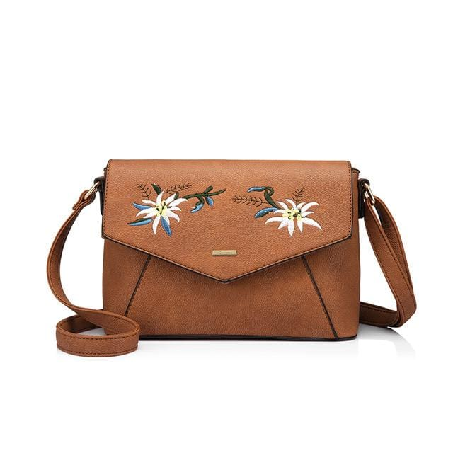 Shoulder bag female flower embroidery handbag for women messenger bags envelope crossbody bag Blue/Pink/Black - Brown / China / (20cm<Max