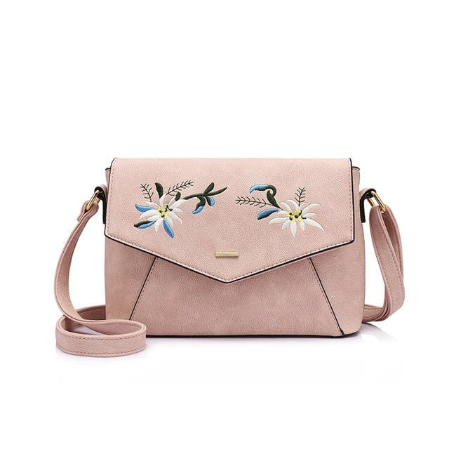 Shoulder bag female flower embroidery handbag for women messenger bags envelope crossbody bag Blue/Pink/Black - Pink / China / (20cm<Max