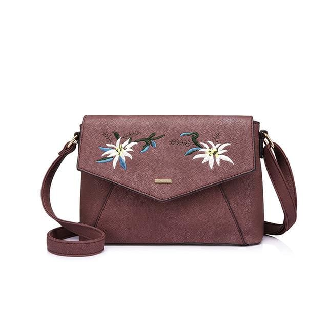 Shoulder bag female flower embroidery handbag for women messenger bags envelope crossbody bag Blue/Pink/Black - Purple / China / (20cm<Max
