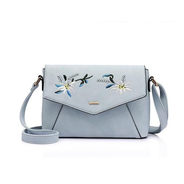 Shoulder bag female flower embroidery handbag for women messenger bags envelope crossbody bag Blue/Pink/Black - Sky Blue / China / (20cm<Max