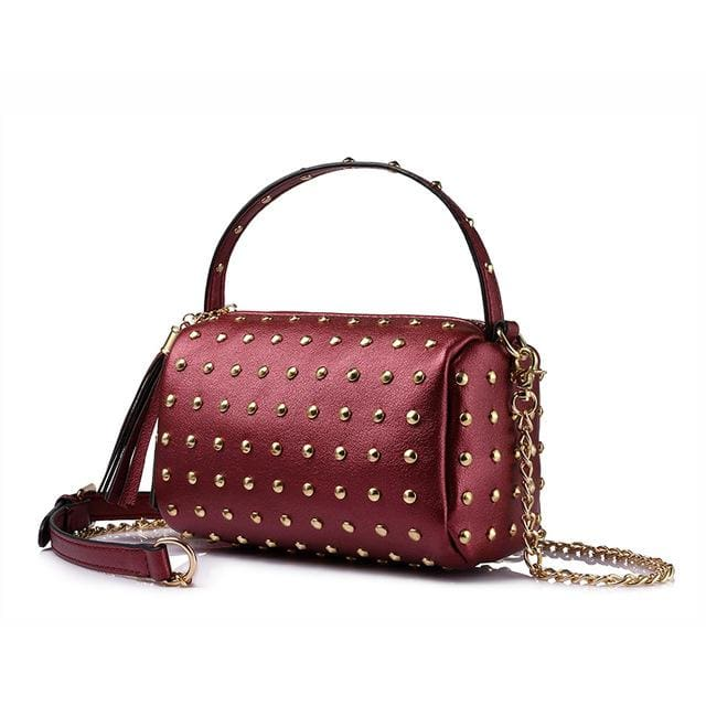 Shoulder bag for women 2018 small handbag purse with rivets female tassel crossbody bags mini clutch Gold/Black - Burgundy / China /