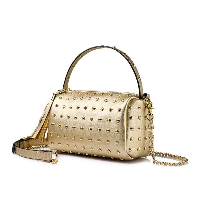 Shoulder bag for women 2018 small handbag purse with rivets female tassel crossbody bags mini clutch Gold/Black - Gold / China / Mini(Max