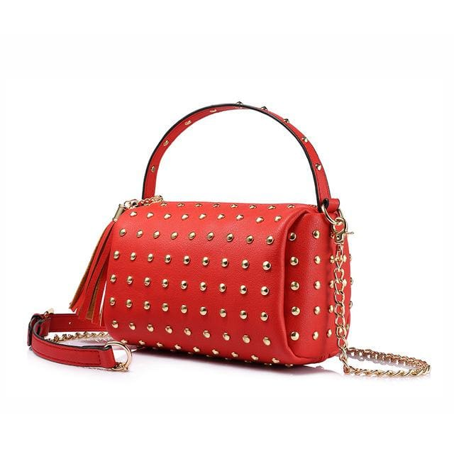 Shoulder bag for women 2018 small handbag purse with rivets female tassel crossbody bags mini clutch Gold/Black - Red / China / Mini(Max