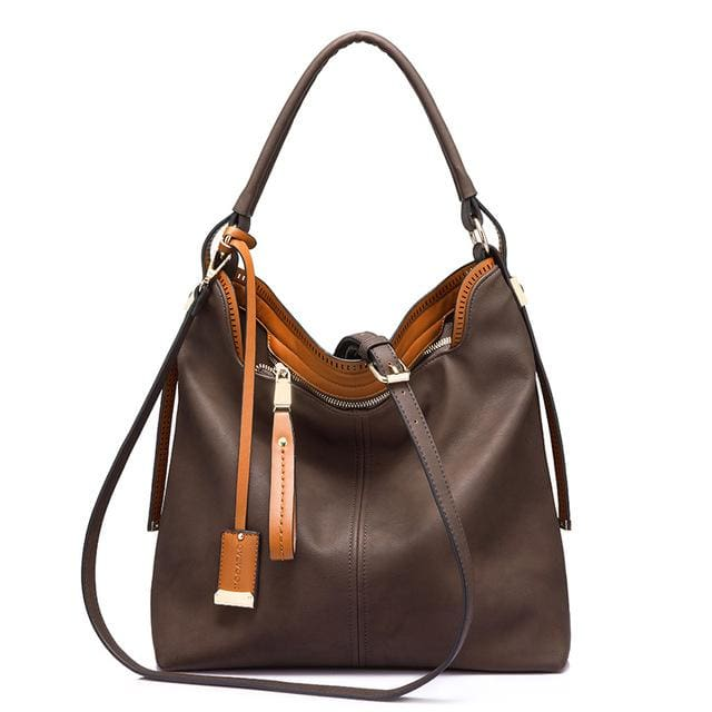 Shoulder bags for womens large capacity handbag female high quality artificial leather tote bag fashion 2018 - Coffee / China / (30cm<Max