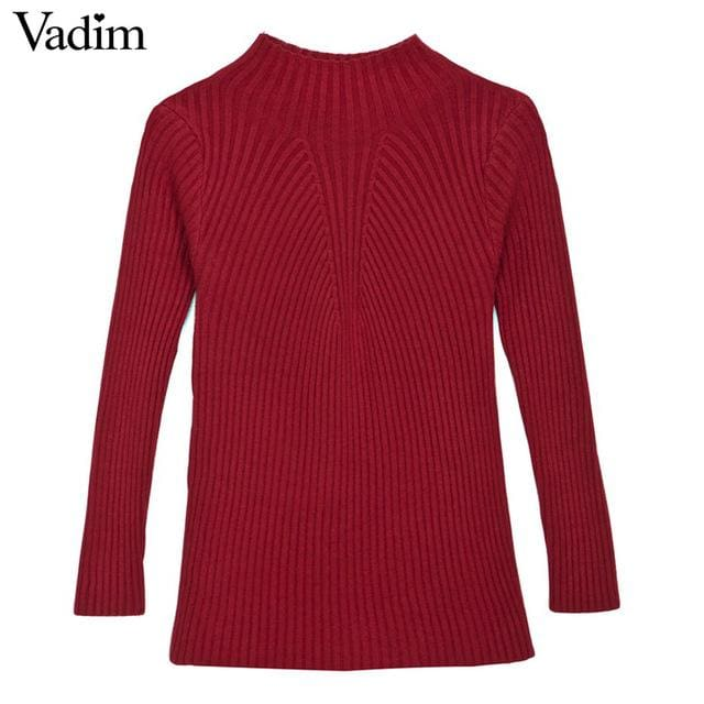 Simple sweater for womens Black/Green/Pink/Brown/Red - Red / One Size - Pullovers