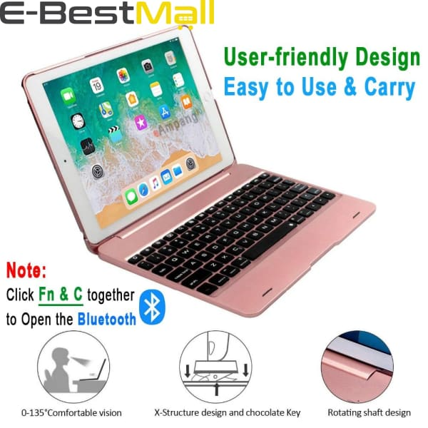 Smart Kebo® Bluetooth Keyboard Case for iPad compatible iPad Pro 9.7 Inch iPad 9.7 Inch iPad Air 1 and 2 2018 iPad 9.7 2017 iPad 9.7 - iPad