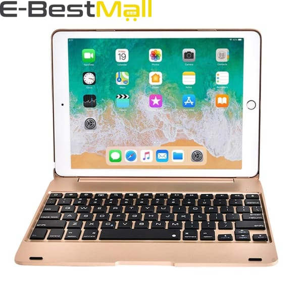 Smart Kebo® Bluetooth Keyboard Case for iPad compatible iPad Pro 9.7 Inch iPad 9.7 Inch iPad Air 1 and 2 2018 iPad 9.7 2017 iPad 9.7 - Gold