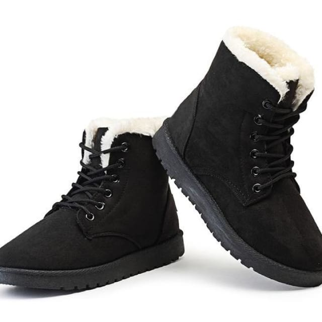 Snow Boots Female Warm Fur Plush Insole High Quality Botas Mujer Lace-Up - black / 4.5