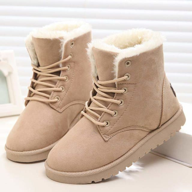 Snow Boots Female Warm Fur Plush Insole High Quality Botas Mujer Lace-Up