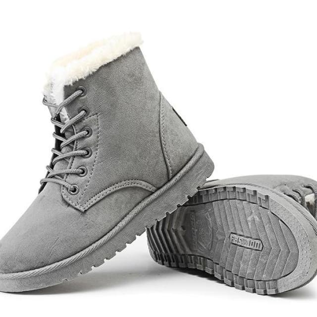 Snow Boots Female Warm Fur Plush Insole High Quality Botas Mujer Lace-Up - gary / 4.5