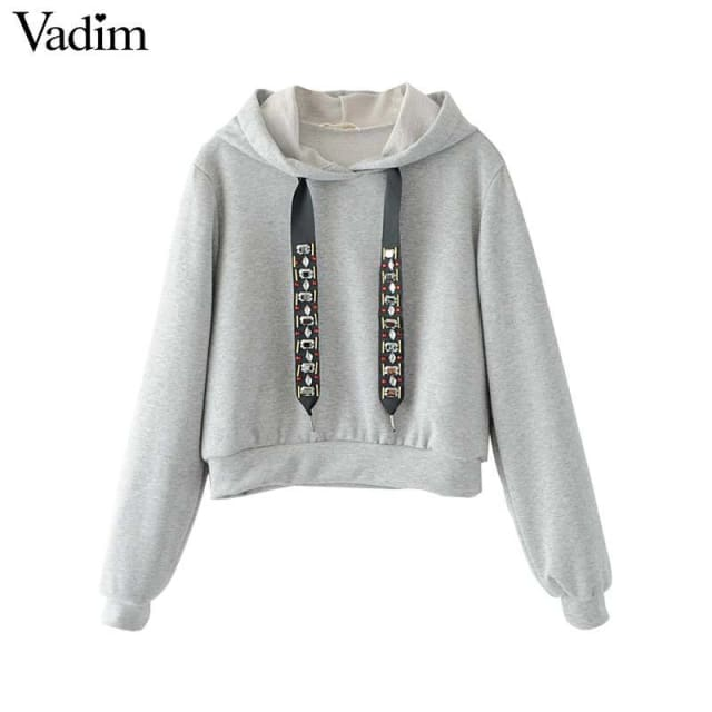 Sweatshirt diamond tie long sleeve / black/ gray - Sweatshirt