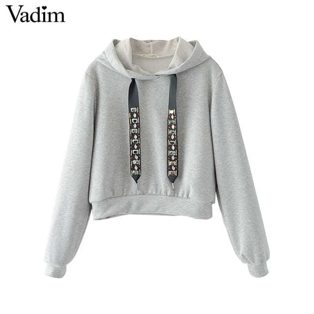 Sweatshirt diamond tie long sleeve / black/ gray - Gray / L - Sweatshirt