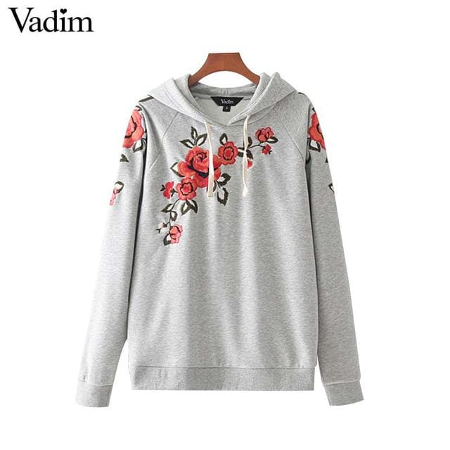 Sweatshirt hooded floral embroidery - Gray / L - Hoodie