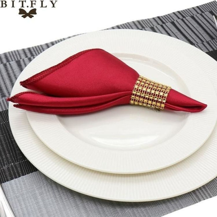 Table Napkins cloth Square Satin 50pcs 30cm - Burgundy - Table Napkins