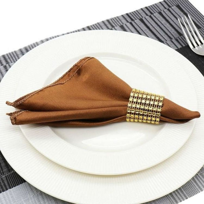 Table Napkins cloth Square Satin 50pcs 30cm - Chocolate - Table Napkins