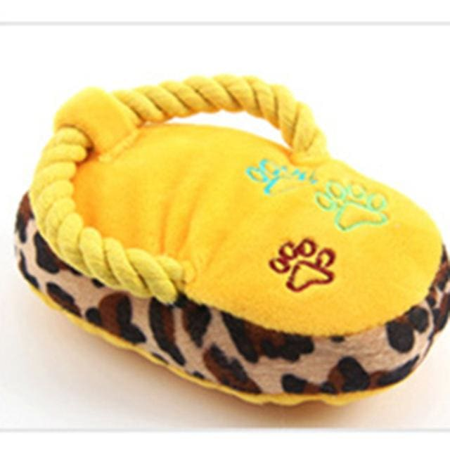 Toy Slippers - Interactive Plush For Dog & Cat - Yellow / S - Dog & Cat Toy