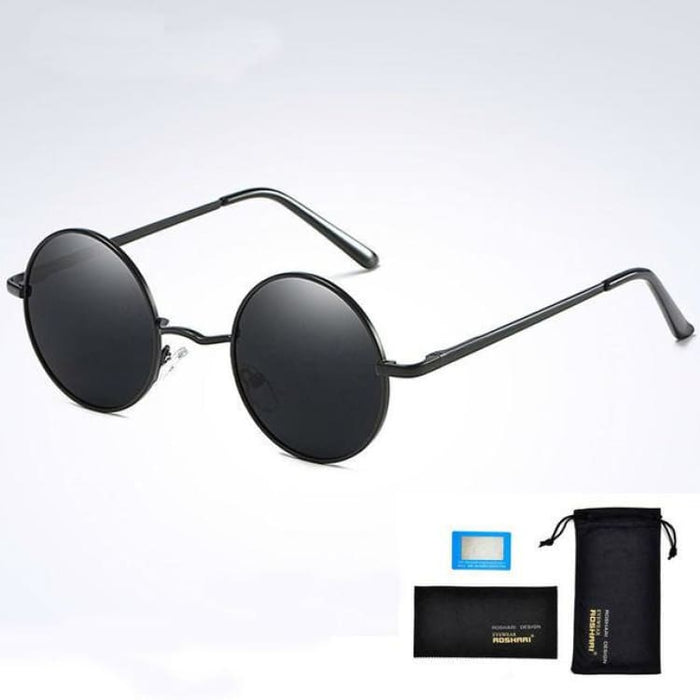 Unisex Vintage Steampunk Polarized Sunglasses Anti-Reflective - Black and black - Sunglasses
